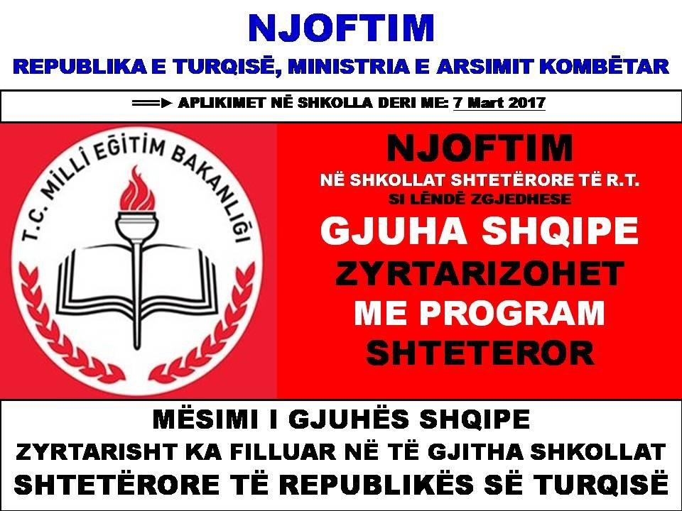 ARSIMIMI NË GJUHEN SHQIPE U BË ZYRTARE NË TURQI