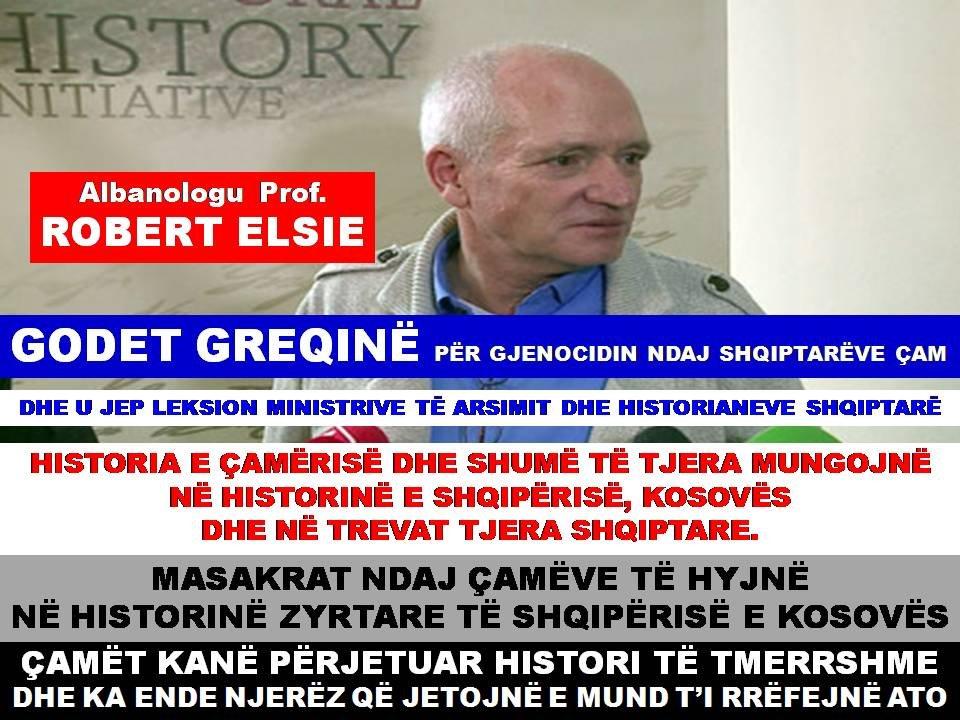 ROBERT ELSIE GODET GREQINË DHE U JEP LEKSION MINISTRIVE TË ARSIMIT DHE HISTORIANEVE SHQIPTARË