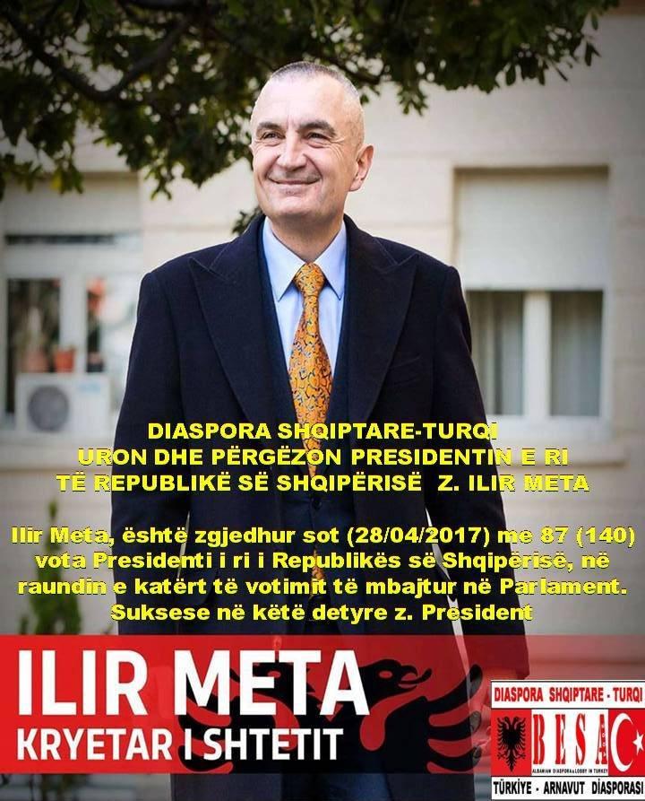 DIASPORA SHQIPTARE-TURQI URON PRESIDENTIN E RI Z. ILIR META.