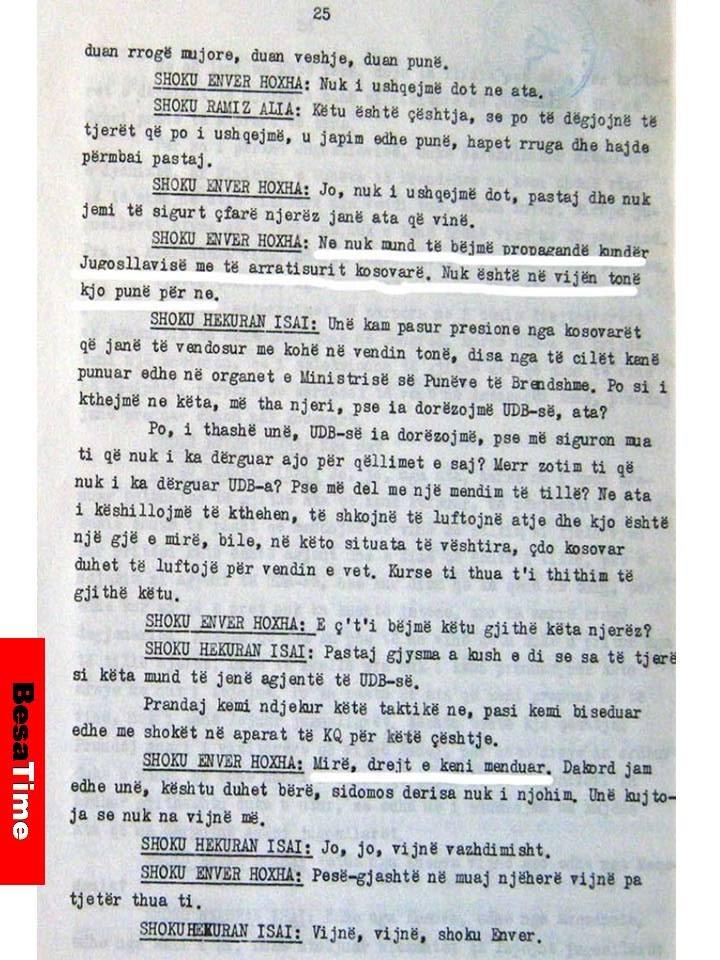 DOKUMENT: ENVER HOXHA DHE TË GJITHË KOMUNISTAT (E SOCIALISTAT E SOTSHËM) ISHIN DHE JANË TRADHTARË TË KOMBIT