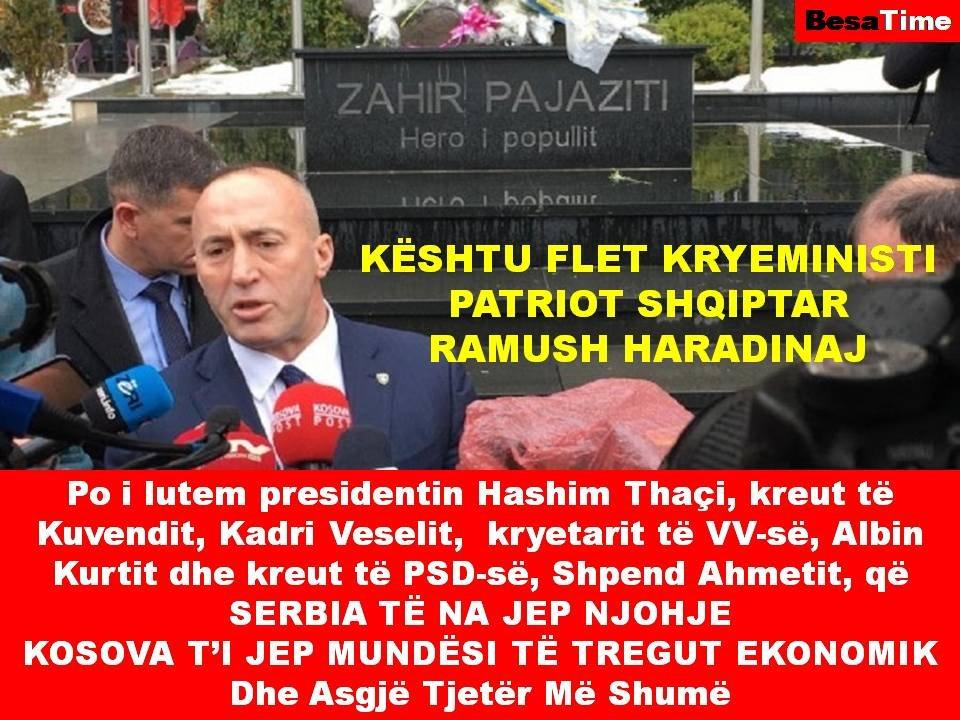 KËSHTU FLET KRYEMINISTI PATRIOT SHQIPTAR RAMUSH HARADINAJ